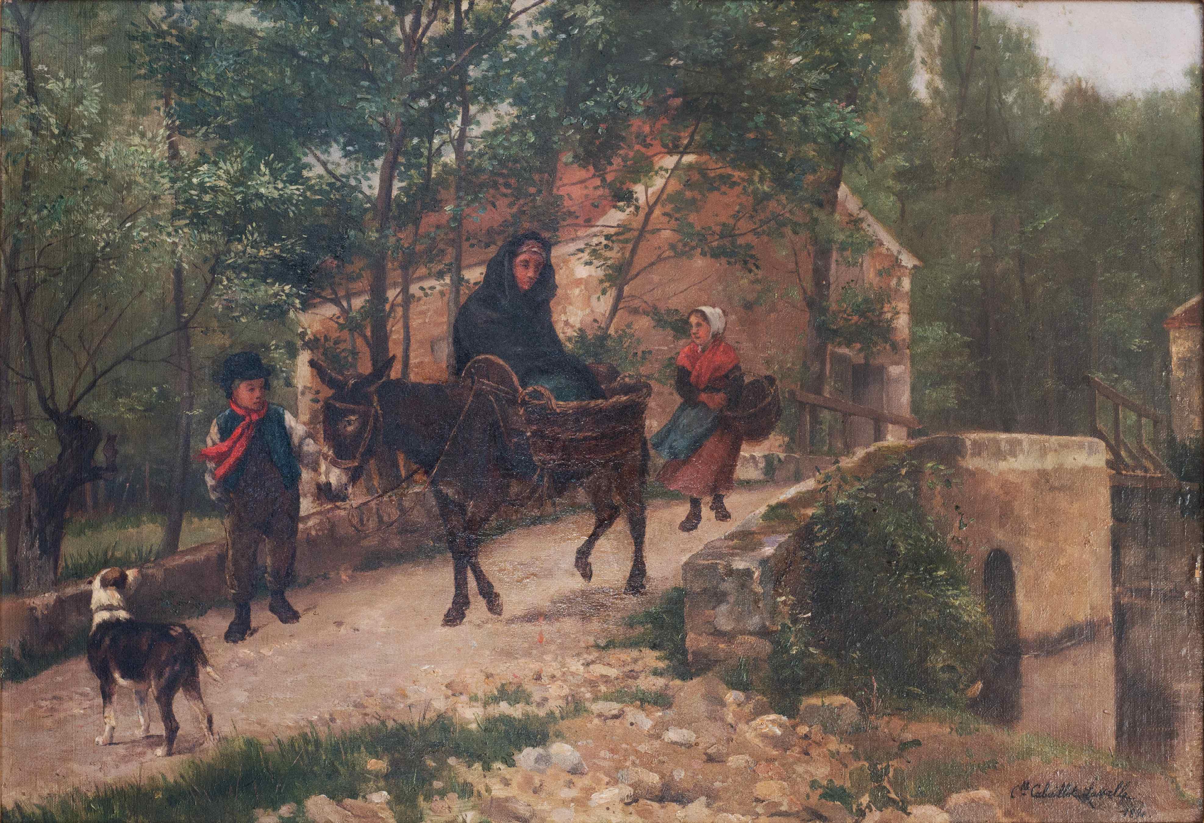 Woman on a donkey, on a bidge