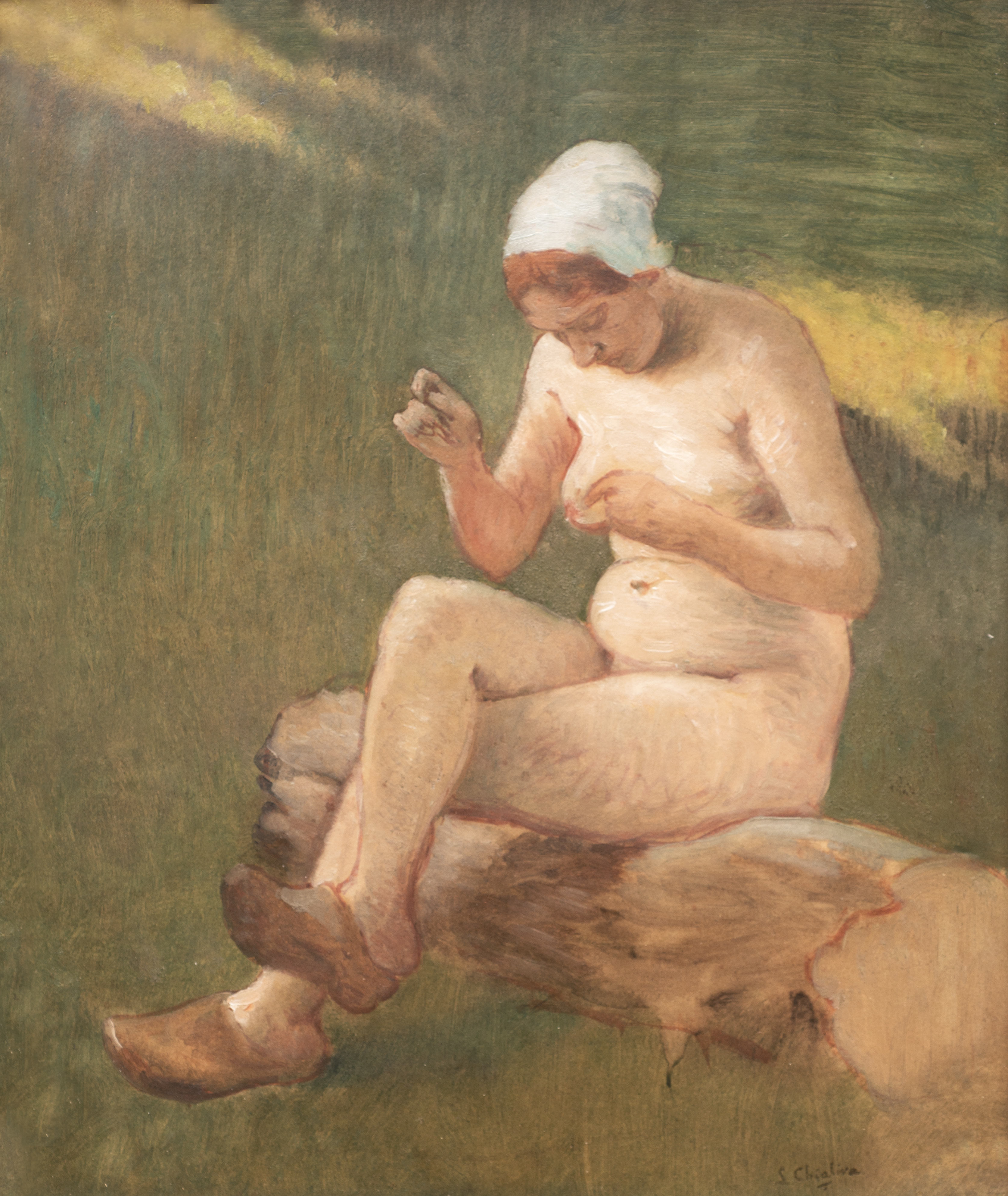 Naked shepherdess with clogs