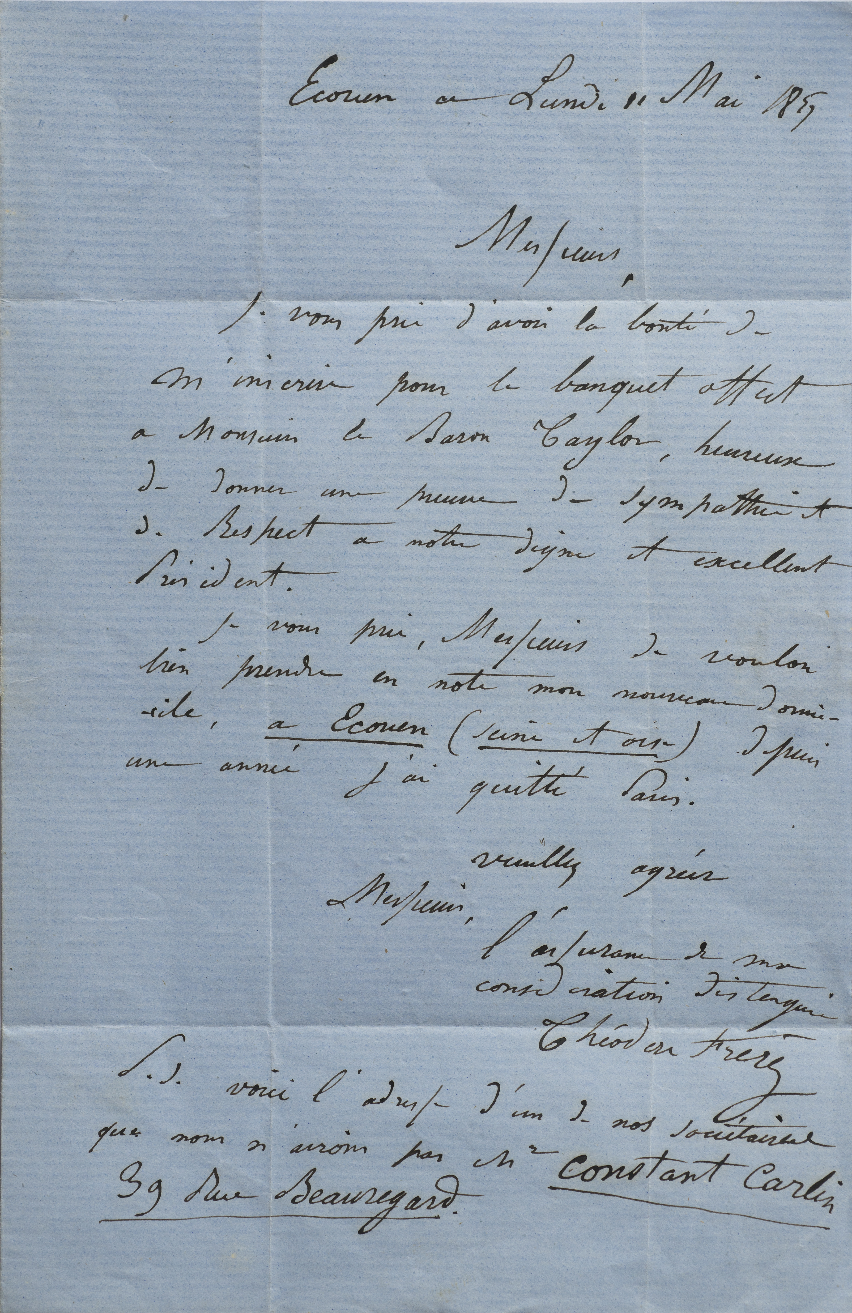 Letter written in Ecouen