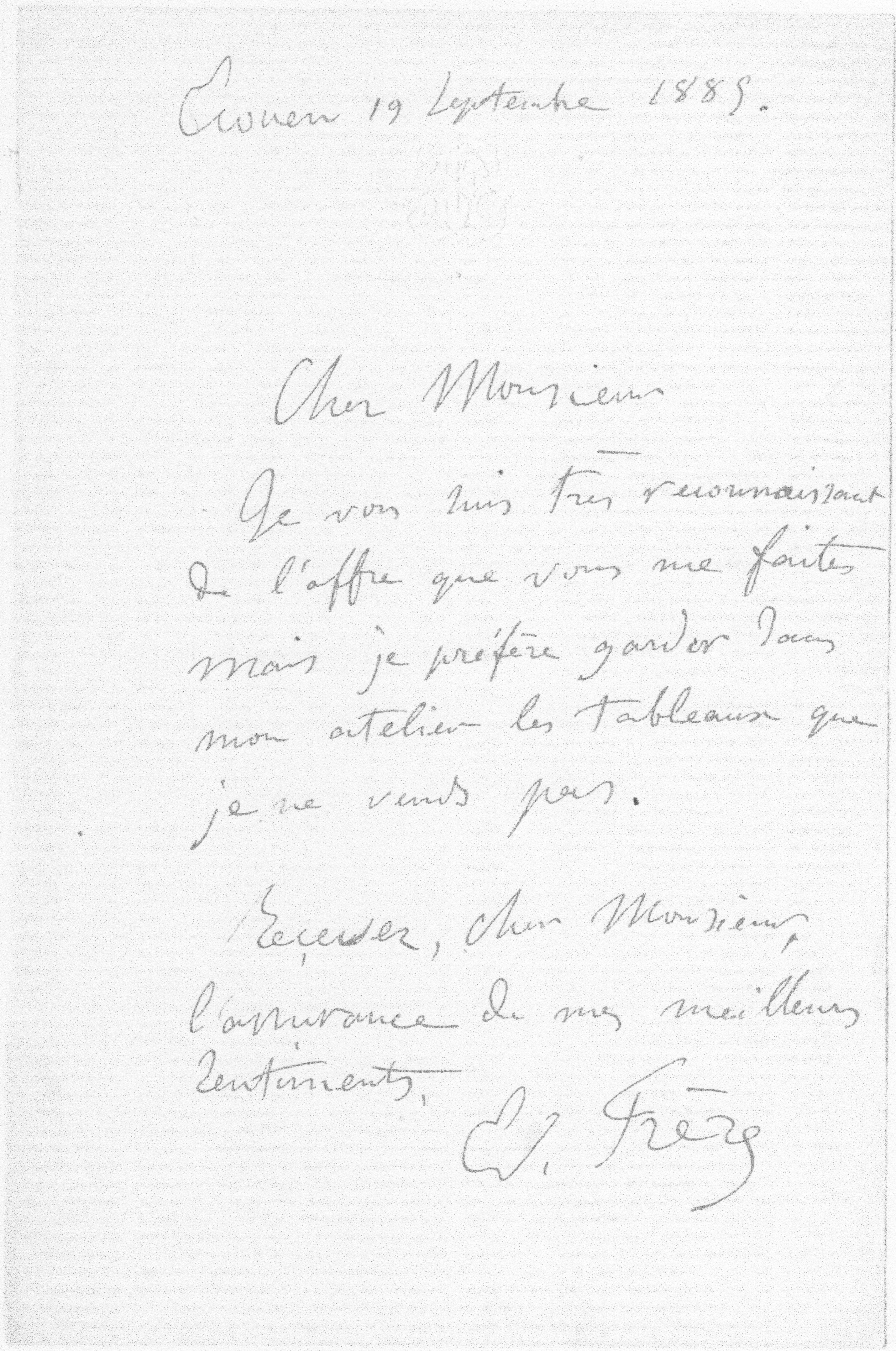 Letter to Durand-Ruel