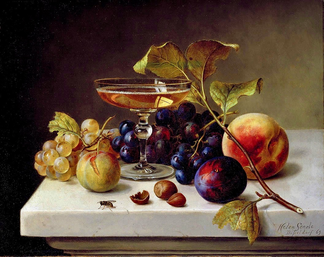 Fruits and glass of champagne (Helen Searl)