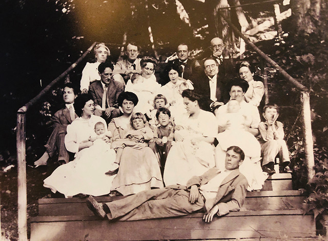 Family reunion for her 80 years birthday. Marie is first on the left of the top row